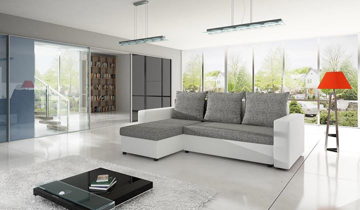 The Mirabelle white and grey corner sofa bed is perfect for a family home both stylish and comfortable.