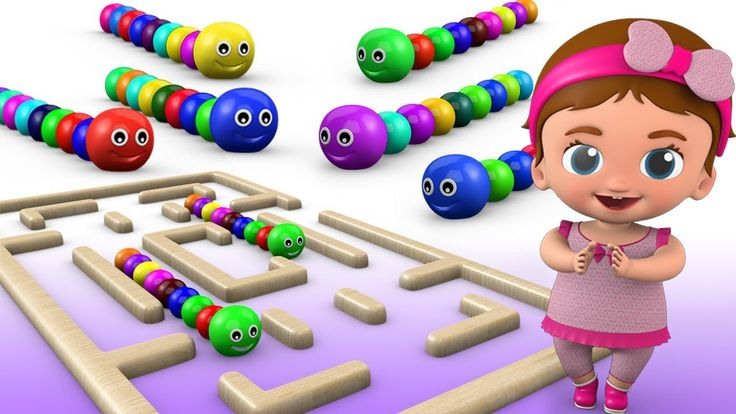 Learn Colors for Children with Little Baby Funny Caterpillar Maze Puzzle...
