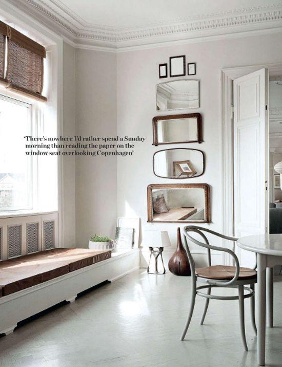 Stacked mirrors Serene neutral apartment in Copenhagen © Heidi Lerkenfeldt for Elle Decor UK