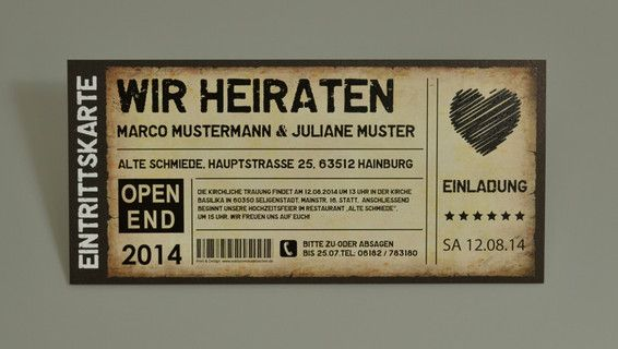 Hochzeit als Ticket Eintrittskarte Einladung Karte Vintage ...