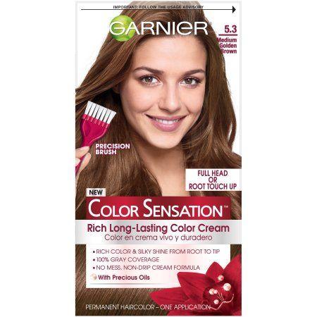 Garnier Color Sensation Rich Long-Lasting Color Cream, 5.3 Medium Golden Brown, 1 Kit