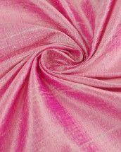 Indian Shot Silk Dupion Fabric - Hot Pink & Silver