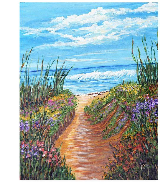 Ocean Canvas Painting 16x20 Original Beach With Flowers With