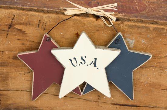 americana crafts   USA Americana Wood Stars on a Wire