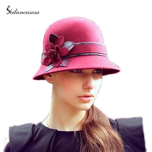 100% Wolle aus Australian cloche fedora-hut frauen winter kopfbedeckungen wollfilz hut blume eimer-design floopy warme mütze fw002204(China (Mainland))