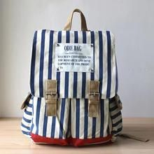 Ms Bean - Buckled Pinstriped Backpack