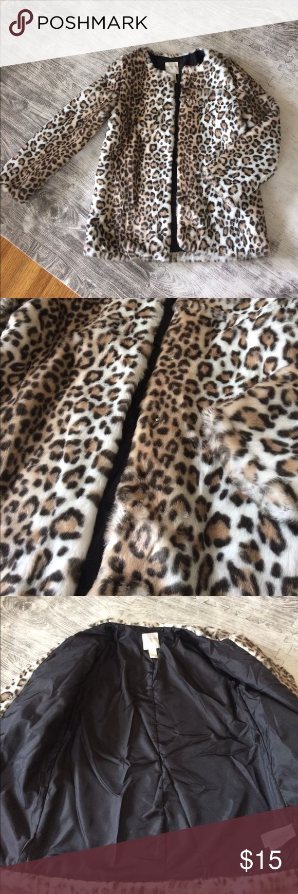 Leopard faux fur jacket Leopard faux fur jacket. SUPER soft! In perfect condition. Never worn. NWOT. Size girls L but would fit a women's XS Jackets & Coats