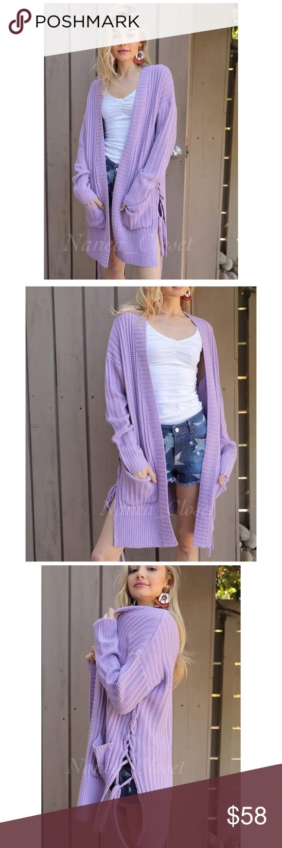 🆕 Open Knit Cardigan | Lilac Open Knot Cardigan  This is a long sleeve open knit cardigan, with two front pockets, and a unique side tie detail. Perfect to layer over a light long sleeve for the cooler temperatures, and a cute pair of distressed jeans. Very cozy and comfortable.  Detail: Sizes Available: S, M, L Color: Lilac Materials: 75% Acrylic, 25% Cotton Nanea_Closet Sweaters Cardigans