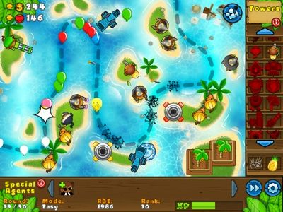 Place your towers and special agents strategically around the track (choose from 40) to stop the battle balloons. Upgrade your towers to get better results, try and beat 50 waves of enemies per game! There are also special and random missions to give more game play options.  This is fast action fun, you can slow down or speed up the game to suit.    The towers are creatively drawn and the weapons are fairly lighthearted and imaginary, an innocent 'shooter game'.