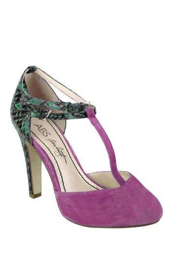 Teal snakeskin and purple suede heels