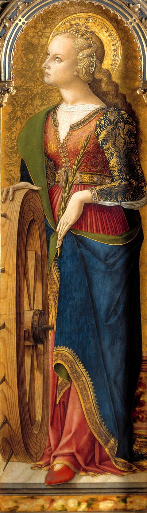 Carlo Crivelli, 1476; St Catherine of Alexandria with her symbolic attribute, a wheel.