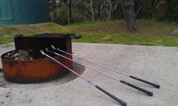 This is just about genius. Campfire / BBQ Fork with Golf Club Shaft and Grip.