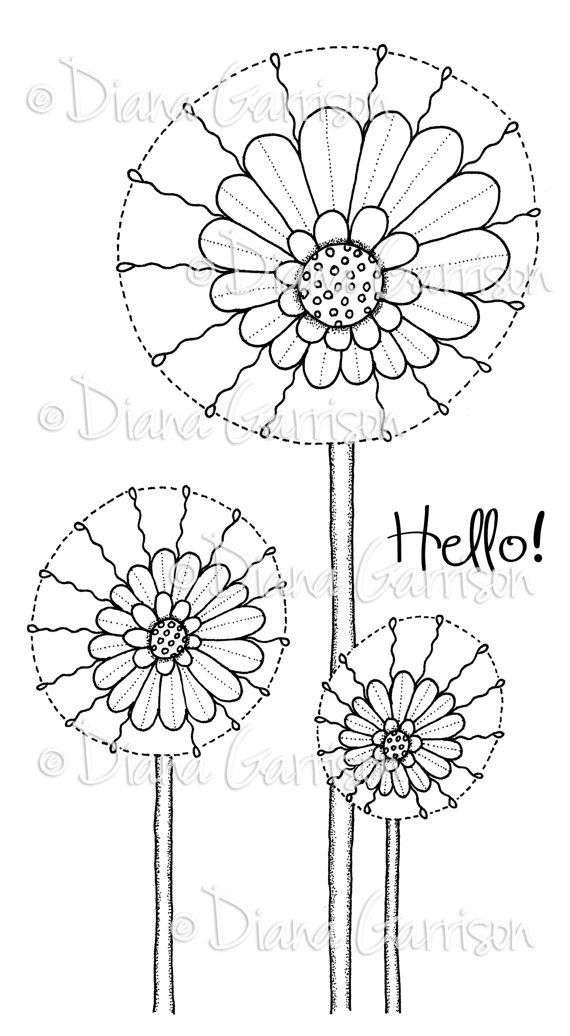 """Now available on Etsy, """"Daisy Pops"""" Digi Stamp by Diana Garrison. $3.00"""