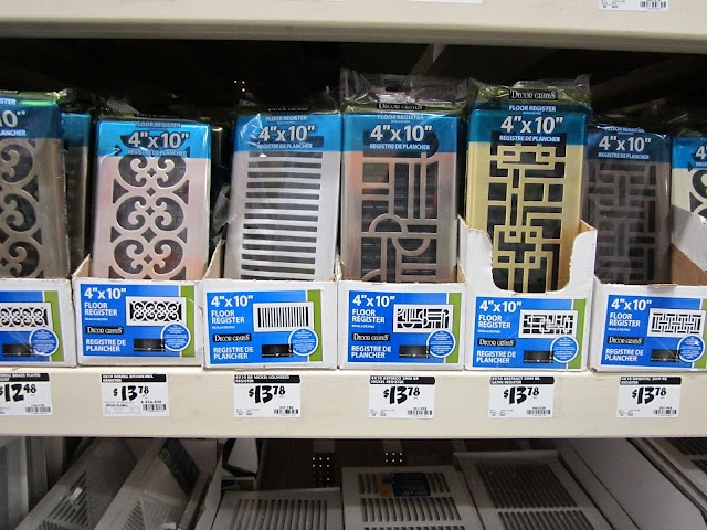 Stylish vents ... Home Depot to pick up a new vent, aka floor register ... great choices ... 4men1lady