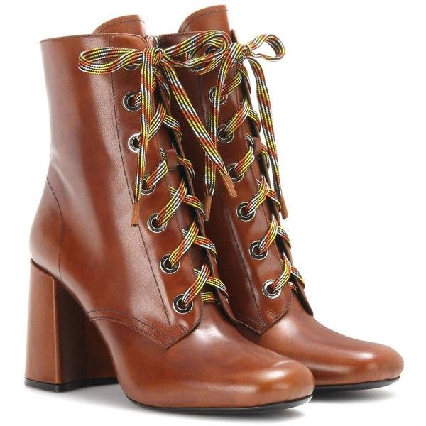 Prada Leather Ankle Boots (22 545 UAH) ❤ liked on Polyvore featuring shoes, boots, ankle booties, prada, brown, leather booties, brown boots, short leather boots, brown bootie and ankle boots