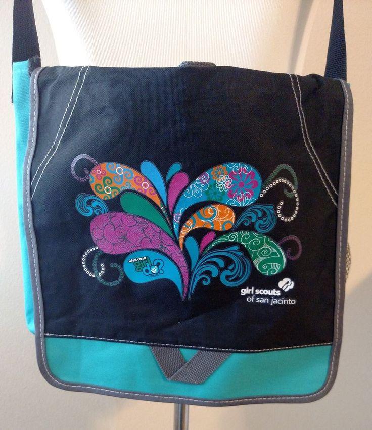 San Jacinto Girl Scout Messenger Tote Bag Canvas Mesh Hook Loop Closure