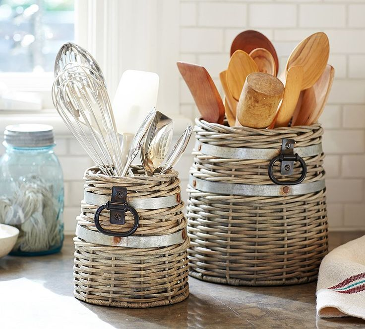 10 Clever Ways to Use BasketsStore kitchen tools. Don't just cram your kitchen tools into drawers — these much-loved utensils have a beauty all their own. Keep your must-haves out on display with crock baskets like these.