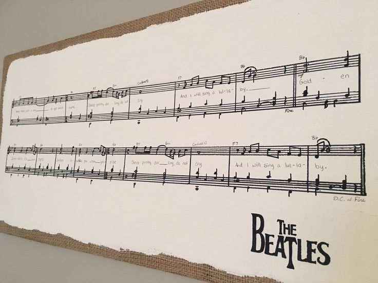 DIY sheet music nursery canvas with sharpie and sharpie pen. Golden Slumbers by The Beatles
