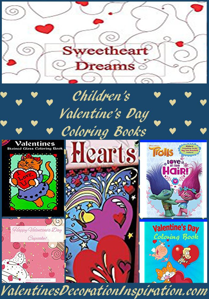 Valentine's Day coloring in books especially for children - from preschool to elementary