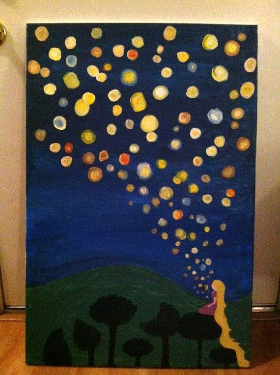 Rapunzel's lantern painting from Disney's Tangled by LilliesNest, $65.00    i could do this...