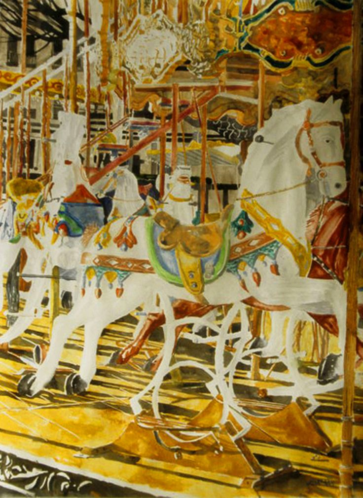 "carousel montmartre paris  (2) 30"" x 22""  micheal zarowsky / watercolour on arches paper / available $2100.00"