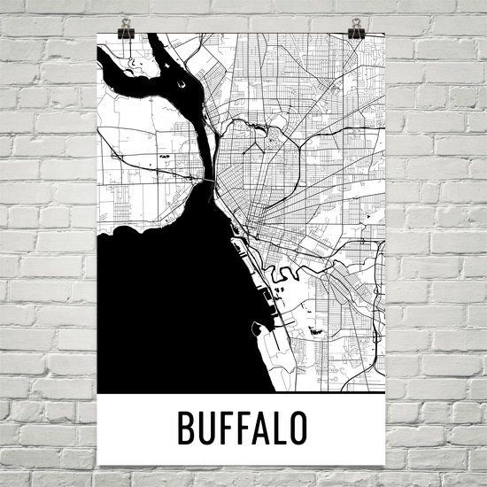 Buffalo NY Map, Art, Print, Poster, Wall Art From $29.99 - ModernMapArt - Modern Map Art