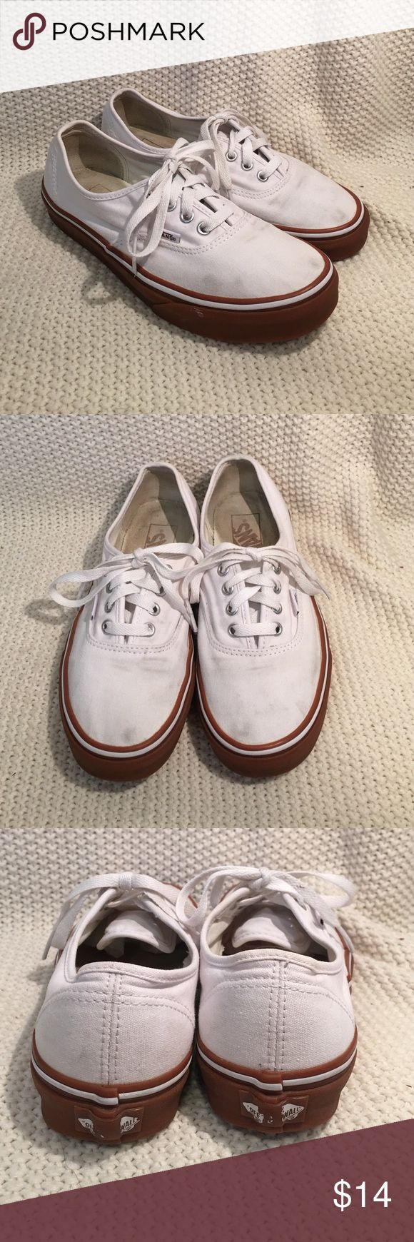 Vans Authentic Gently loved white Vans with tan soles. Little bit of dirt stains around toes as seen in pictures. Washed and cleaned. Great buy! Vans Shoes Sneakers