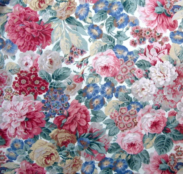 Vintage SANDERSON - ROSE & PEONY Pair Curtains pink blue Cotton Floral L2m W3.3m