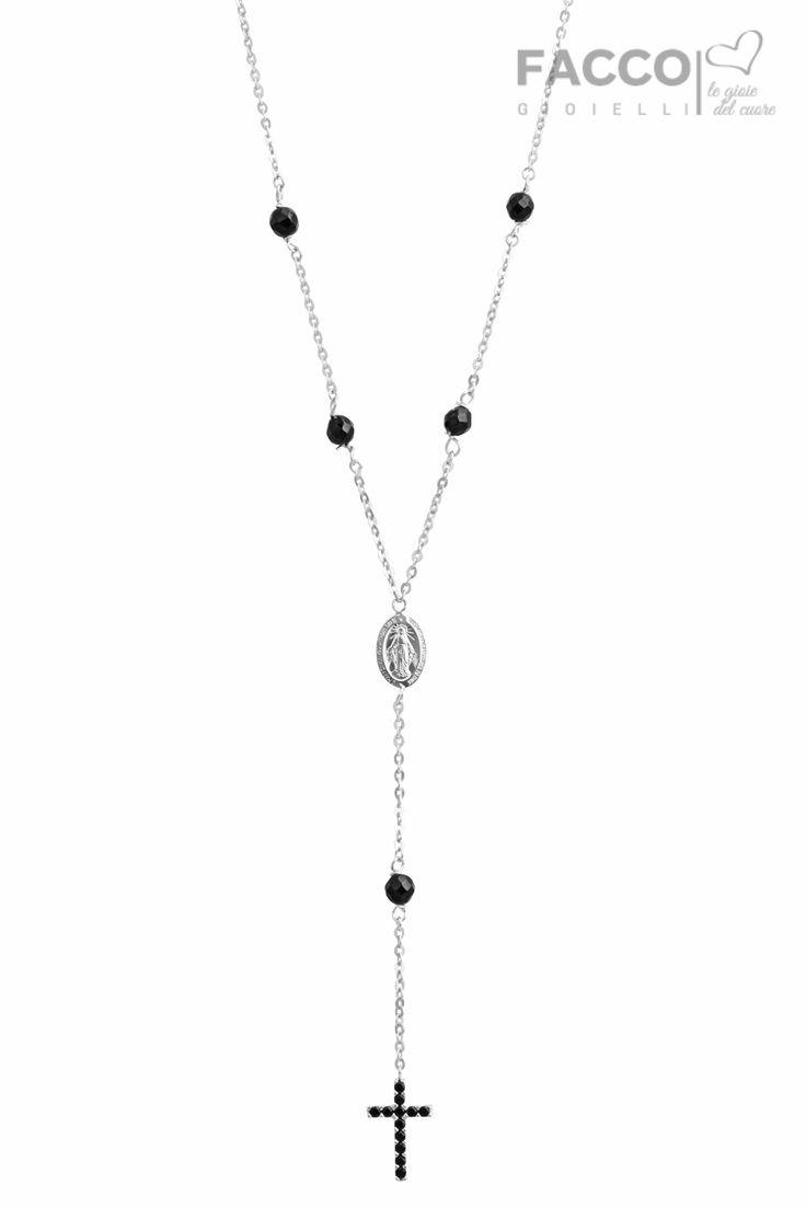 Collana rosario donna, Facco Gioielli, in oro bianco 750‰, piastrina con Madonna, pendente croce con pavè di zirconi neri, pietre nere.