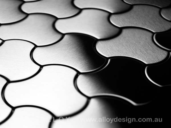 Karim Rashid for ALLOY 'Ubiquity' tile in brushed stainless steel.