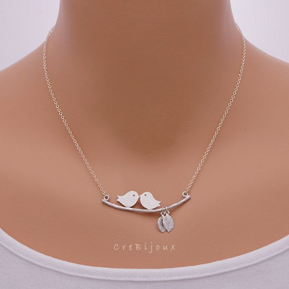 Birds and Tiny Leaf Necklace Sterling Silver Chain / by CreBijoux, $19.50
