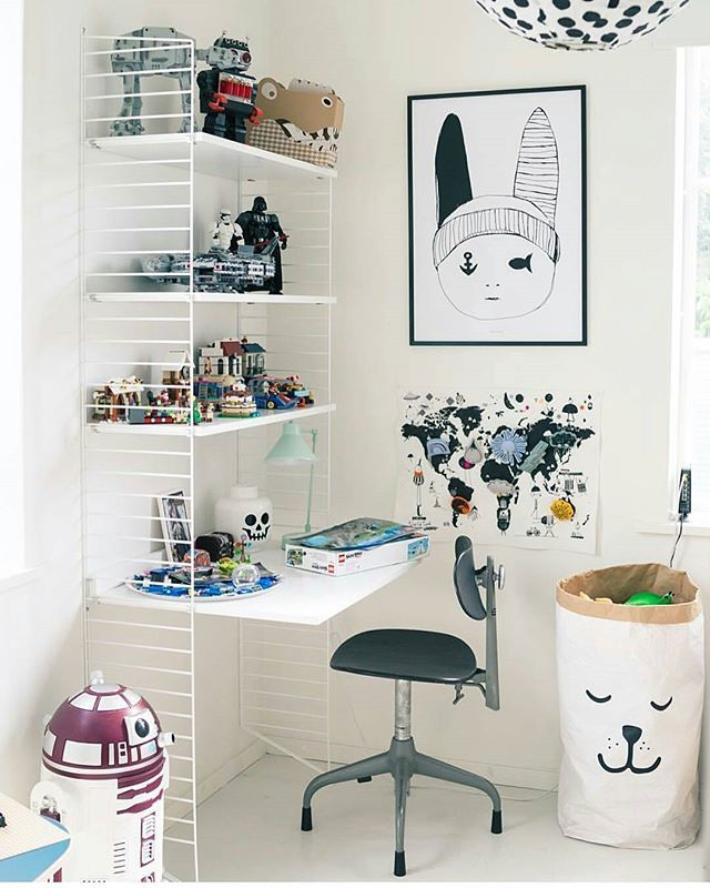 Kids Workspace Inspo and Image Regram thanks to @willieandmillie based in Sweden. It's the weekend and time for our kids workspace feature. This amazing space in the gorgeous home of Designer, Creators & Webshop Owners @willieandmillie. A string shelf by @stringfurniture is used so perfectly here to display lots of lego and we love the @paxandhart print. Thanks @willieandmillie we love your your kids workspace style!