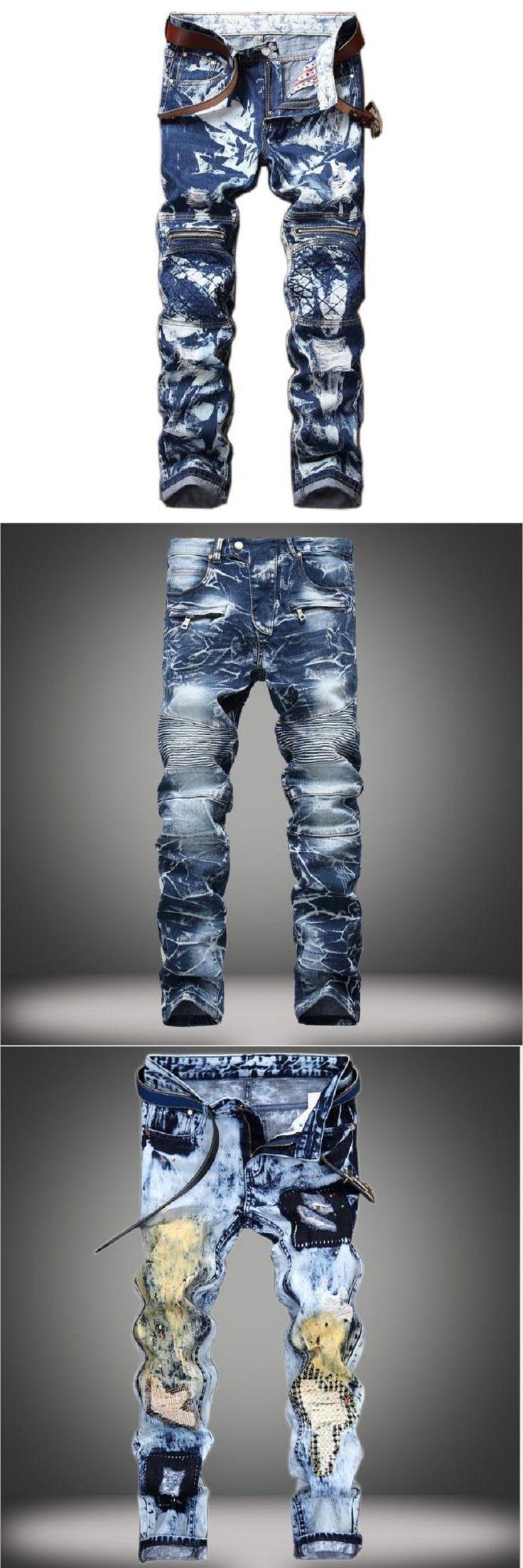 men's jeans are worn by stylish pleated snow Men's Fashion spelt Slim denim overall zipper jean homme Biker jeans