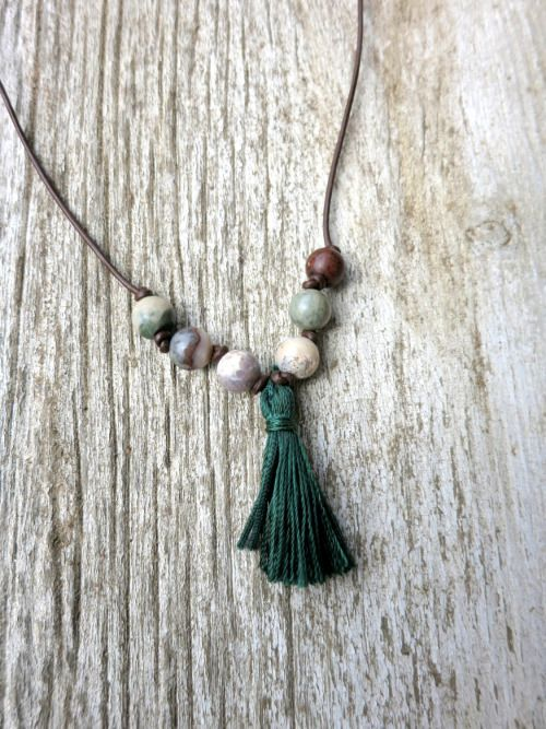 gemini-summer:  Tassel Necklace with Natural Stone Beads on...