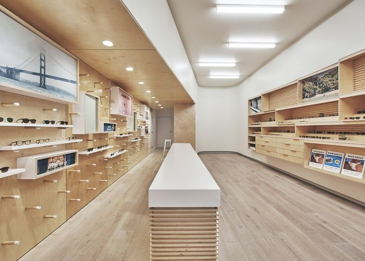 LA-based studio West of West used white surfaces and plywood in a new Garrett Leight eyewear store to reinforce the brand's Californian identity