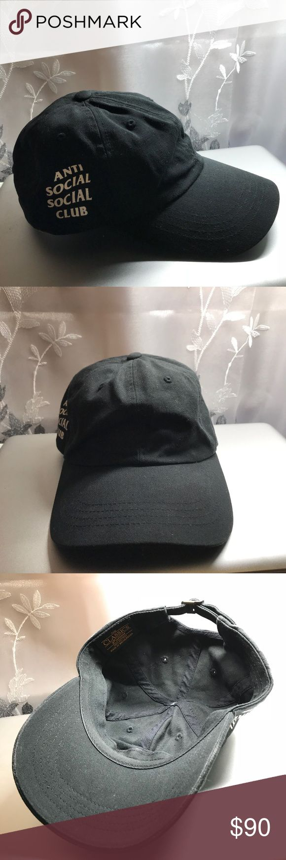 """Antisocial Social Club Black Hat Weird Cap 🌚 EUC, kept in good condition, worn only a few times, no imperfections, no weird smells, pet free home   🌚 Black antisocial social club hat """"Weird Cap""""  🌚 Feel free to offer! :) Anti Social Social Club Accessories Hats"""
