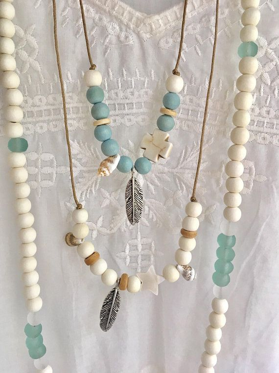 boho jewelry bobemian beaded necklace beachcomber beach
