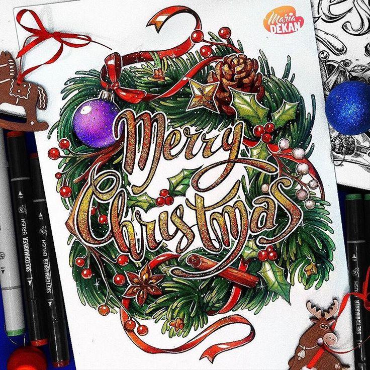 Днем рождения, открытки маркерами на новый год