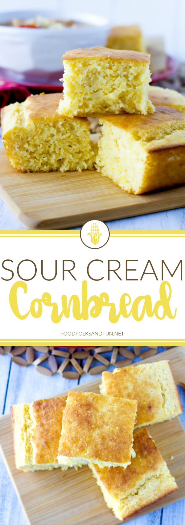 This Sour Cream Cornbread recipe is so moist, delicious, and not overly sweet. It's super easy to make, the entire family will love it, and it's simply the best!
