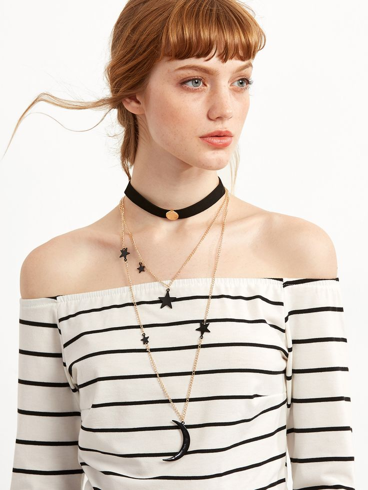 Black Layered Star Moon Choker Necklace — 0.00 € ----------------color: Black size: None
