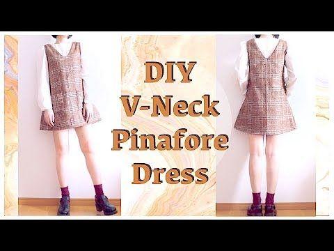 DIY V Neck Pinafore Dress // 秋冬🍂チェックワンピースの作り方ㅣmadebyaya