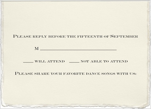 Custom Response Card With Place For Listing Song Suggestions The Wedding Playlist