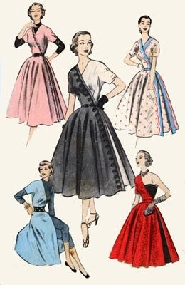 1950s vintage sewing pattern. Advance 6238. © 1952. Versatile wrap dress with three easy pattern pieces that features a full circular skirt, kimono sleeves, and contrast fabric options.
