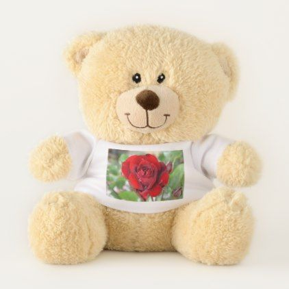 Valentine's Day Beautiful Red Rose Custom Teddy Bear - classy gifts custom diy personalize