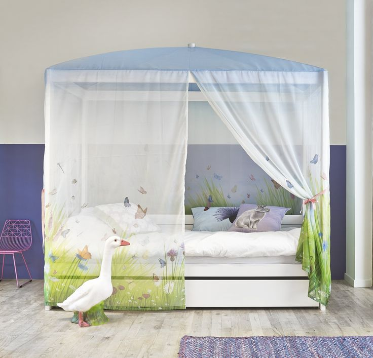 Single 4 Poster Bed Part - 25: Four-Poster Bed With Butterfly Love Canopy U2013 White By Lifetime Kidsrooms  For Girls Canopy