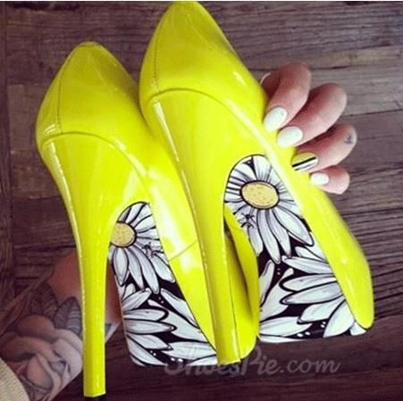 Stylish Yellow Coppy Leather Flower Print Platform High Heel Shoes $101.99 free ship