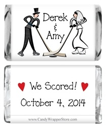 Ice hockey themed wedding favors - candy wrappers. how hilarious is this that it's my actual wedding date