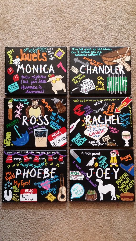 FRIENDS TV SHOW Set of 6 Hand-Painted Acrylic by RubySongbird13