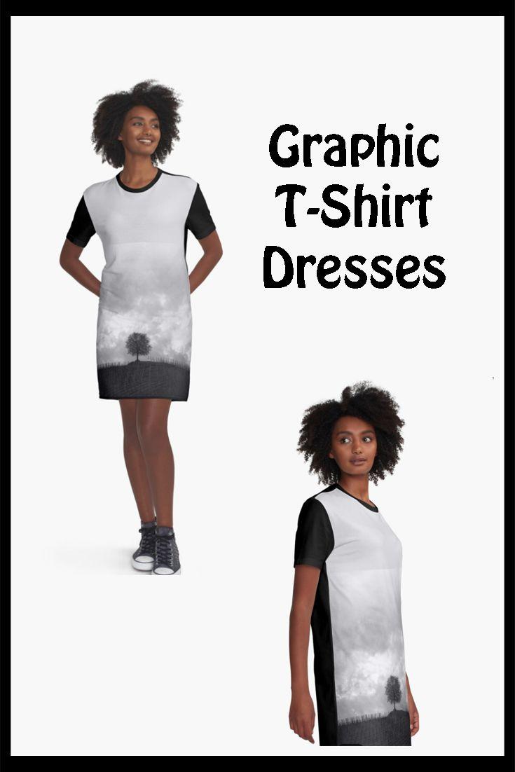 Black & White Graphic T-Shirt Dresses