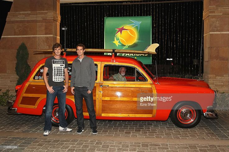 Jamie Murray (left) and Andy Murray of Great Britain arrive at the player's party for the BNP Paribas Open at the Indian Wells Club on March 10, 2011 in Indian Wells, California.